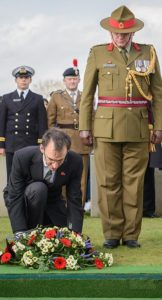 New Zealand Ambassador to Belgium His Excellency Gregory Andrews and Brigadier Evan Williams lay a wreath during the burial ceremony of the partial remains of an unknown First World War New Zealand soldier and the partial remains of two British soldiers today at the Perth (China Wall) Commonwealth War Graves Cemetery near Ieper, in Belgium.