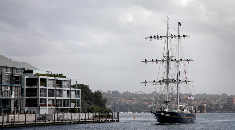 Training Ship Young Endeavour returns to Fleet Base East, Sydney, after completing a ten-month circumnavigation of Australia. Able Seaman Tara Byrne
