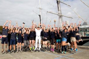 The Crew and Youth Crew of Training Ship Young Endeavour show excitement after returning to Fleet Base East, Sydney, after completing a 10-month circumnavigation of Australia. Photo by Able Seaman Bonny Gassner.