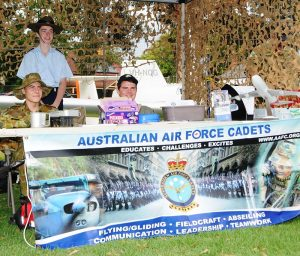 The 602 Squadron recruiting stand at the Mount Barker Show on Saturday 25 March 2017 (left to right): LCDT Aiden Carling, CCPL Benjamin Grillett and LCDT Ben Carter. Photo by Flight Lieutenant (AAFC) Lawrence Ng.