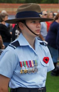 Leading Cadet Lucy Tassell wears the medals of her great-grandfather Leading Aircraftman Owen Forrest. Photo by Pilot Officer (AAFC) Paul Rosenzweig