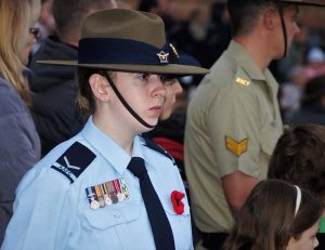 Leading Cadet Ainslie Carter honours the service of a family member at the Gawler Anzac Day Dawn Service. Her relative was a Vietnam Veteran. Photo by Pilot Officer (AAFC) Paul Rosenzweig.