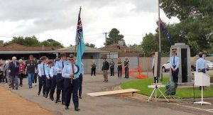 Cadets from No 623 Squadron from Mildura lead the March and provide a Catafalque Party in Irymple, Victoria. 623 San photo.