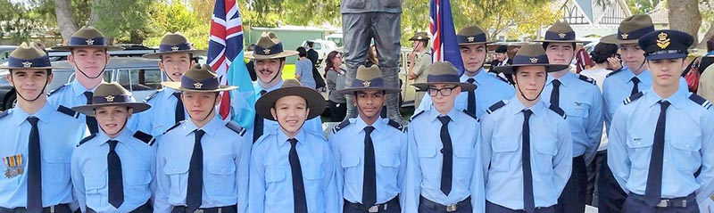 Cadets from No 623 Squadron from Mildura following their duty in Irymple, Victoria. 623 San photo.