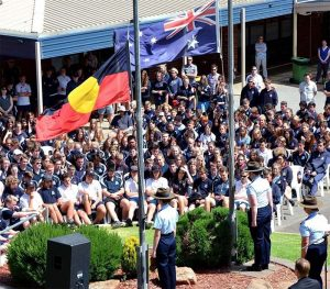 Then Cadet Corporal Chaise Olah commands a party of Air Force Cadets from No 619 (City of Onkaparinga) Squadron at the 2016 Willunga High School Remembrance Day service. Photo by Pilot Officer (AAFC) Paul Rosenzweig.