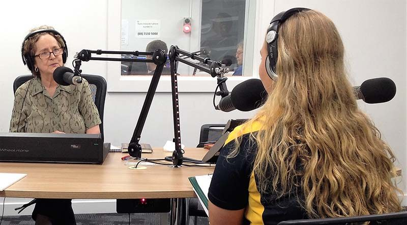 Cadet Sergeant Chaise Olah (right) is interviewed on radio by ABC Adelaide producer Helen Meyer. Photo by Pilot Officer (AAFC) Paul Rosenzweig.