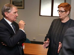 Defence Minister Marise Payne chats with Secretary of Defence Dennis Richardson. Photo by Jayson Tufrey.
