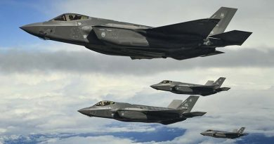 USAF F-35As fly in formation on their way to Europe. US Air Force photo by R. Nial Bradshaw.