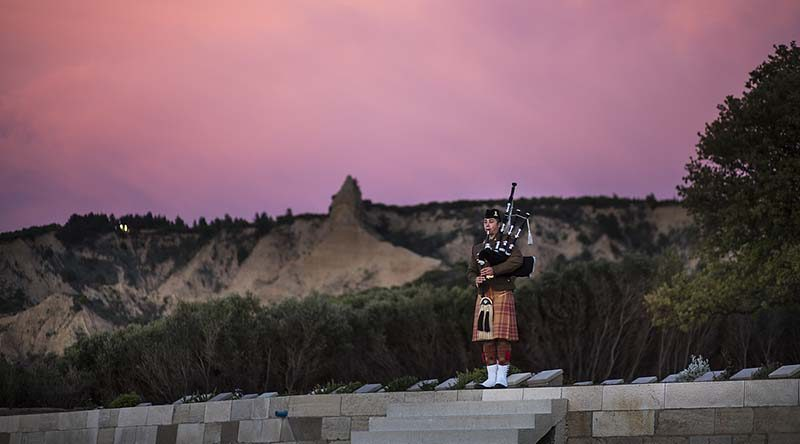 Australian Army bagpiper Musician Dave Leaders rehearses at the Ari Burnu cemetery, Gallipoli, Turkey, ahead of 2017 Anzac Day commemorations. Photo by Able Seaman Kayla Hayes.