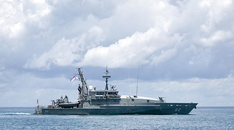 Armidale-class patrol boat HMAS Wollongong at sea. Photo by Able Seaman Kayla Hayes.