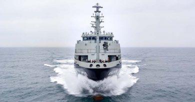 MV Sycamore on sea trials off the Dutch coast. Photo courtesy Damen Shipbuilding.