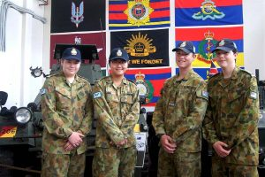 6 Wing Air Force Cadets improving their Service knowledge at the National Military Vehicle Museum (left to right): Cadets Lachlan Jenkins and Sarah Sha (both now reclassified as Leading Cadets), Cadet Under Officer Aaron Musk, and Cadet Corporal Anthony Sanchez. As well as progressing in the AAFC, Leading Cadets Jenkins and Sha have just qualified to receive the Bronze Award of The Duke of Edinburgh's International Award.