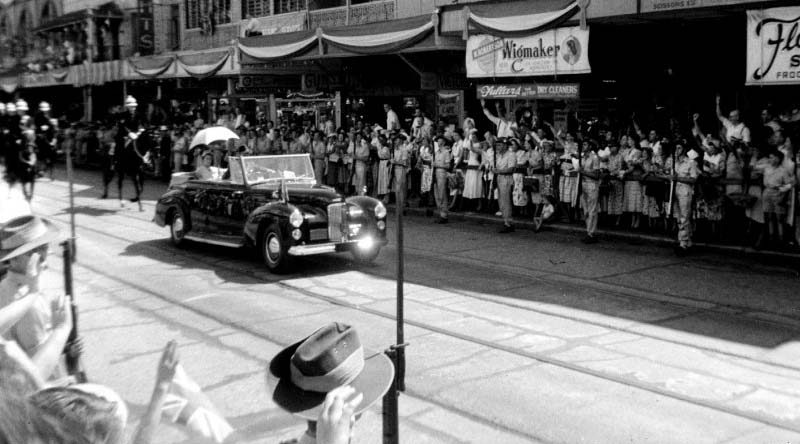 Queen Elizabeth II photographed during her first visit to Australia in 1954.