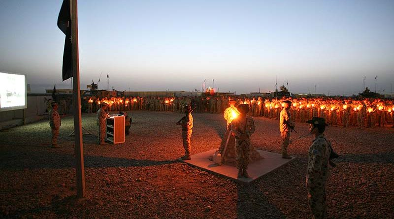 ANZAC Day Dawn Service at Talil, Iraq, 2008. Photo by Brian Hartigan.