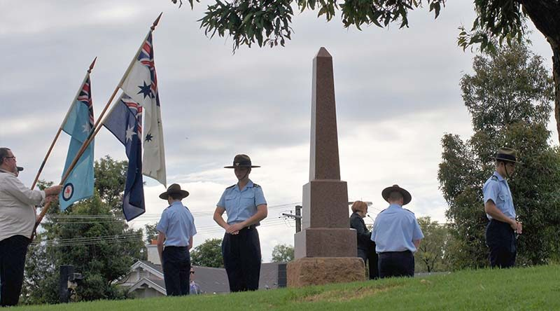 The Catafalque Party at Pioneer Park in Gawler on 23 April 2017 (left to right): CCPL Benjamin Anderson, CCPL Courtney Semmler, CCPL Andrew Paxton and CFSGT Benjamin Kurtz. The Catafalque Party commander (not in picture) was CUO Hayden Skiparis. Photo by Pilot Officer (AAFC) Paul Rosenzweig.