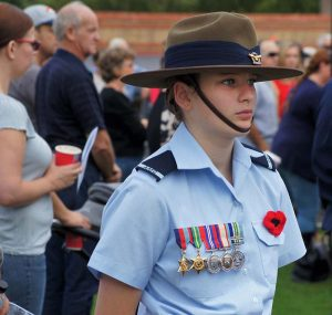 During the Gawler RSL's Anzac March on 23 April 2017, Leading Cadet Lucy Tassell proudly wears the medals of her great-grandfather Owen William Forrest from Coolamon, NSW, honouring his service in Borneo and the South West Pacific during and immediately after World War 2. Owen Forrest served in the AMF from 12 June 1942 to 29 June 1943, and then as a Leading Aircraftman in the RAAF from 30 June 1943 until 22 May 1946. Photo by Pilot Officer (AAFC) Paul Rosenzweig.