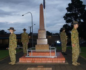 Air Force Cadets from No 608 Squadron mounted an overnight Anzac Vigil at the Gawler War Memorial on 24/25 April (left to right, clockwise): CCPL Courtney Semmler, CUO Hayden Skiparis, CCPL Benjamin Anderson, CFSGT Benjamin Kurtz. Photo by Pilot Officer (AAFC) Paul Rosenzweig.
