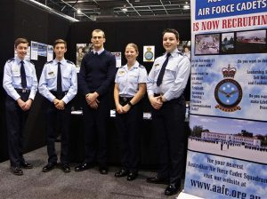 The 6 Wing Public Affairs Team for Day 1 – Cadet Corporal Benjamin Grillett, 602 Squadron, Woodside Barracks; Cadet Corporal Alexander Barrott-Walsh, 619 Squadron, Seaford; Aircraftman (AAFC) Kieran Wandel, 604 Squadron, Hampstead Barracks; Cadet Corporal Courtney Semmler, 608 Squadron, Gawler; and, Cadet Corporal Anthony Sanchez, 604 Squadron. Also on the team but not in the photo was Cadet Corporal Mattia Jukic, 601 Squadron, Keswick Barracks, and Flight Lieutenant Kev Smith, 604 Squadron. Photo by Pilot Officer (AAFC) Paul Rosenzweig