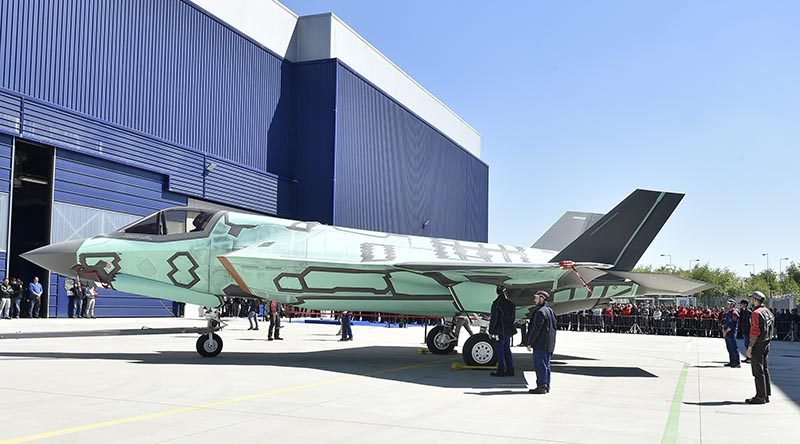 Italy's first home-built F-35B rolls out of final assembly. Lockheed Martin photo.