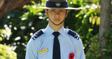 Leading Cadet Zain Carse wears a Flanders Poppy to honour the memory of his grandfather Corporal Dave Carse, who served with the New Zealand Regiment on the Malay Peninsula in 1958-59 during the Malayan Emergency. Photo by Pilot Officer (AAFC) Paul Rosenzweig.