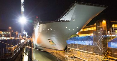 HMAS Adelaide rests on blocks in the Captain Cook Graving Dock at Fleet Base East, Sydney, after entering dry dock for maintenance. Photo by Leading Seaman Peter Thompson.