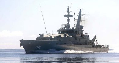 Armidale-class patrol boat HMAS Maryborough at sea. Photo by Leading Seaman James Whittle.