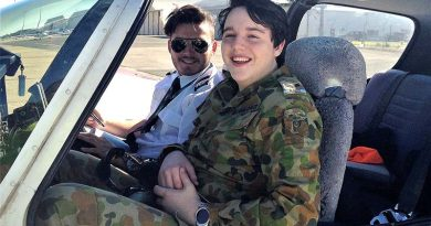 Cadet Corporal Anthony Sanchez from No 604 Squadron AAFC undertakes a PEX flight in a Tobago TB10 with pilot Derek Alvarez from Flight Training Adelaide. Photo by Pilot Officer (AAFC) Paul Rosenzweig