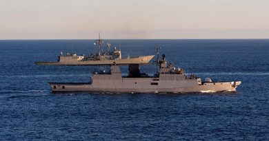 Indian Navy Ship INS Kamorta and HMAS Newcastle conduct officer of the watch manoeuvres in the Western Australian Exercise Area (WAXA) during AUSINDEX 2017. Photo by Able Seaman Nicolas Gonzalez.