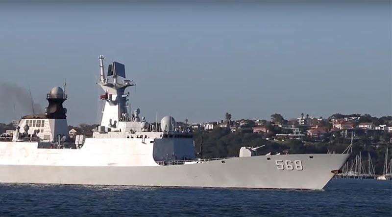 Chinese frigate Heng Yang enters Auckland Harbour. Photo by Mike Millett.