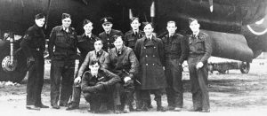 Mark Fry (left) with his Avro Lancaster bomber crew in 1944. Image supplied