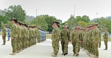 Farewell parade for Middle-East-bound troops in Townsville. 3 Brigade photo.