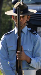 Catafalque Party member, Cadet Sergeant Christian Custodio from No 605 Squadron during the RAAF Association (SA) Bomber Command Service. Image by Pilot Officer (AAFC) Paul Rosenzweig