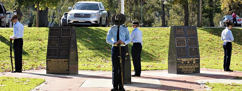 Australian Air Force Cadets from No 605 Squadron perform Catafalque Party duties at the RAAF Association (SA) Bomber Command Service in Adelaide. Photo by Pilot Officer (AAFC) Paul Rosenzweig.