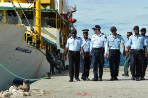 AFP and RSIPF patrol on Honiara dock