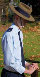Leading Cadet Sean Fry, No 605 Squadron, on Catafalque Party duty in remembrance of his grandfather, the late Flying Officer Mark Lewis Fry RAAF. Image by Pilot Officer (AAFC) Paul Rosenzweig.