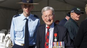 Leading Cadet Sean Fry from No 605 Squadron with former RAAF Warrant Officer Doug Leak, Bomber command veteran and recipient of the French Légion d'honneur. Image by Pilot Officer (AAFC) Paul Rosenzweig
