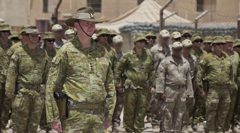 Colonel Richard Vagg, Commander Task Group Taji 4, prepares to hand over command at the Taji Military Complex, Iraq. Photo by Able Seaman Chris Beerens.