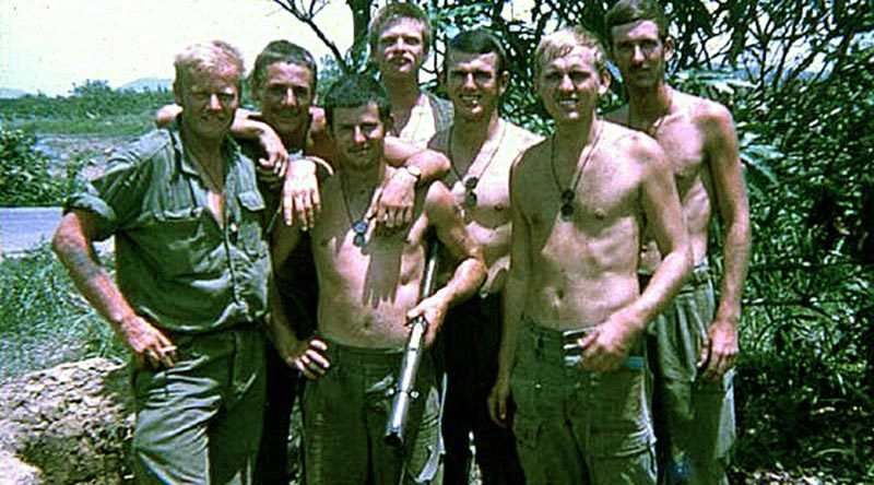 Davo, John S, Wooly, John L, me, Killer and Digger – 5 Section, 2 Platoon, 2RAR on Route 2, Phuoc Tuy Province, Vietnam.
