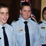 Duke of Edinburgh Bronze Award recipients Leading Cadets Simon Russell, Lachlan Jenkins and Sara Sha.