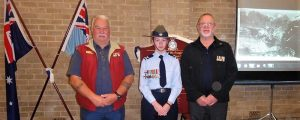 Cadet Corporal Teagan Thomas wears the medals of her great-grandfather Flight Lieutenant Cyril Kroemer DFC during the unveiling, with David Laing, Vice-President of Murray Bridge RSL (left) and Merv Schopp (President). Image contributed by 622SQN