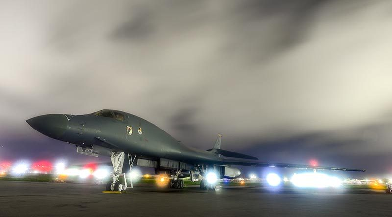A US Air Force B-1B Lancer sits on the runway at Anderson Air Force Base, Guam, before flying to Shoalwater Bay and back on a single bombing run for Exercise Talisman Sabre. US Air Force photo by Airman 1st Class Christopher Quail.