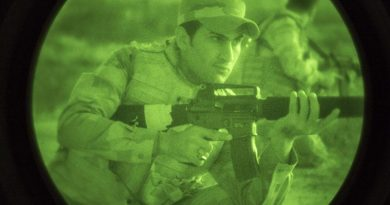 An Iraqi soldier undergoing night-fighting training with Australian and NewZealand training team at Camp Taji. ADF photo.