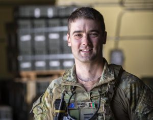 Squadron Leader Nathan Gilmore at Hamid Karzai International Airport, Kabul, Afghanistan. Photo by Sergeant Ricky Fuller.