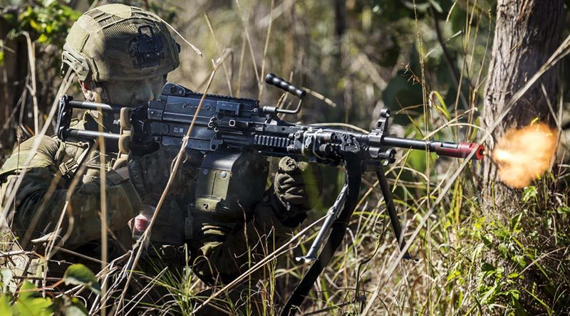 An Australian soldier fires at the enemy during a contact at Shoalwater Bay Training Area during Exercise Talisman Sabre 17. Photo by Leading Seaman Jake Badior.
