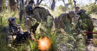 Members of the 2nd Battalion, Royal Australian Regiment, Manoeuvre Support Platoon, provide direct fire support with .50 Cal machineguns during the final Battlegroup Samichon assault at the Shoalwater Bay Training Area during Exercise Talisman Saber 2017. Photo by Corporal Mark Doran.