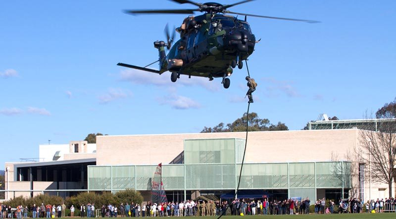 Helicopter action at the ADFA open day (2015) aimed to give potential officer cadets and midshipmen and insight into the benefits of combining a career in the ADF with a degree from UNSW. Photo by Michael Jackson-Rand.