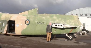 David Bradley, restoration manager for Aerospace Bristol, and the RNZAF 49 Squadron Bristol Freighter he's preparing for its journey home to Bristol in the UK. Photo by Mike Millett.