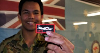 CSGT Michael Santos from No 604 Squadron AAFC proudly displays his CT-4B patch after successfully completing the ADF Flight Screening Program. Image by Pilot Officer (AAFC) Paul Rosenzweig