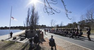 HMAS Canberra (I) is commemorated in the Nation's Capital on the shores of Lake Burley Griffin where a service is held each year on the anniversary of her loss. Photo by Petty Officer Phil Cullinan.