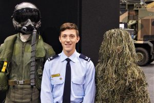 CCPL Alex Barrott-Walsh (centre) on duty at a recent Defence Careers Expo. Image by PLTOFF (AAFC) Paul Rosenzweig